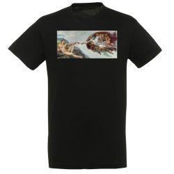 T-shirt NOIR Michel Ange - La creation d'Adam