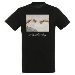 T-shirt NOIR Michel Ange - La creation d'Adam detail
