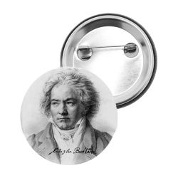 Badge Epingle Ludwig Van Beethoven Portrait Dessine