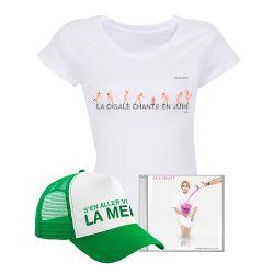 Pack T-shirt Femme BLANC PARIS La Cigale Chante en Juin Casquette S'en aller v
