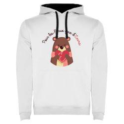 Sweat Shirt capuche Unisexe BLANC Logo Association Pour les Beaux Yeux d'Emma