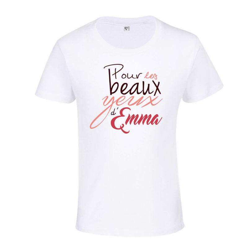 T-shirt Enfant BLANC Typo Pour les Beaux Yeux d'Emma