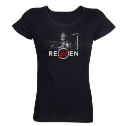 T-shirt Femme NOIR Drummer 2 Photo Noir et Blanc