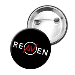 Badge Bouton 34 mm NOIR Logo Reaven