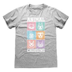 T-shirt GRIS CHINE Nintendo Animal Crossing - Pastel Square