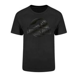 T-shirt NOIR Jurassic Park - Logo Black On Black