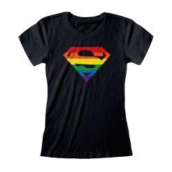 T-shirt Femme Fit NOIR Superman Logo - DC Pride