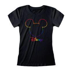 T-shirt Femme Fit NOIR Silhouette - Rainbow Disney Collection Avec Print Col