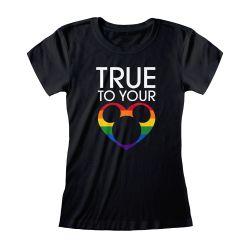 T-shirt Femme Fit NOIR True To Your Heart - Rainbow Disney Collection Avec Print