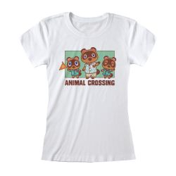 T-shirt Femme Fit BLANC Nintendo Animal Crossing - Nook Family (Fitted)