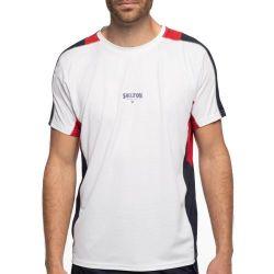 T-shirt Technique Respirant SHILTON Sport Tech BLANC ROUGE MARINE