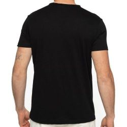 T-shirt SHILTON col V boutons NOIR