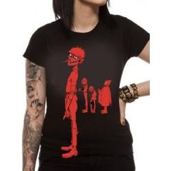 T-shirt FEMME GORILLAZ MURDOC BAND RED