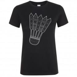 T-shirt femme volant Mandala Badminton Noir