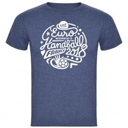 T-shirt Logo Euro Handball Denim Chiné