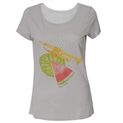 T-shirt femme trompette pastèque gris Jazz in Marciac
