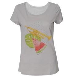 T-shirt blanc Femme Mask Singer - Mosaïque