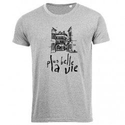 T-shirt Vintage Gris Plus Belle La Vie