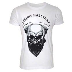 T-shirt Johnny Hallyday tête de mort blanc